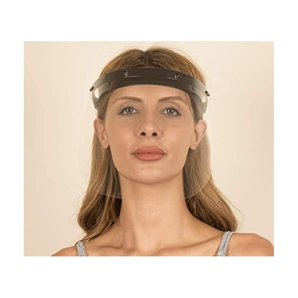 Knigsart-Gesichtsschutz-Visier-aus-Polycarbonat-1-X-Halter-mit-je-2-Wechselfolien-Face-Shield-CE-Zertifiziertes-Visier-Aufklappbares-Gesichtsvisier-fr-MnnerFrauenKinder-Schwarz