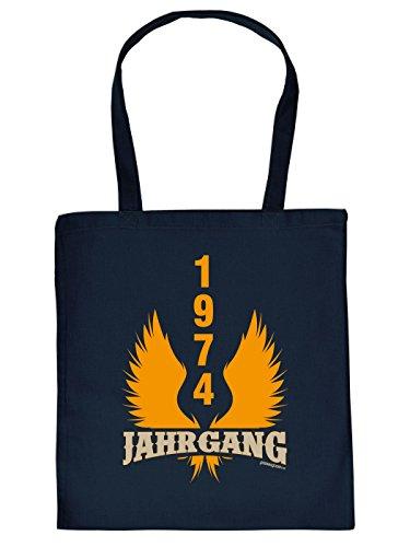Geschenkidee zum 40. Geburtstag: Unisex Jutetasche/ Einkaufstasche/ Stoffbeutel/ Jahrgang 1974 Wings