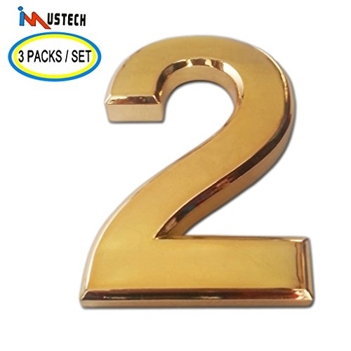 3 Pcs of Number 2 iMustech 2-3/4 Inch Golden 3D Self-stick Number with Reflective Golden Plating(ABS), For Door Number, Mailbox Number, House Number, Modern Hotel Number, Car Sticker