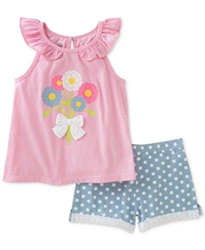 Kids Headquarters 2-pc. Flowers Top & Dot-print Denim Shorts