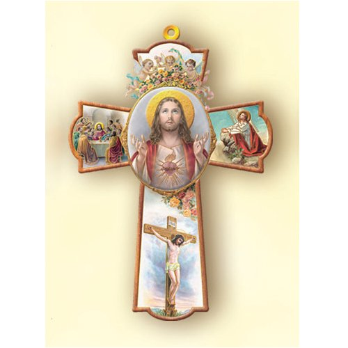 Wooden Wall Cross Sacred 8 25in product image