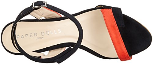 Paper Dolls Lightning, Women's Open Toe Sandals Multicolour (Navy & Orange)