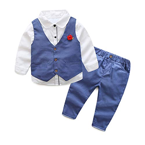 Toddler Little Infant Boys' Dressy 3 Pieces Cotton Clothes Set 2 Years Old Blue