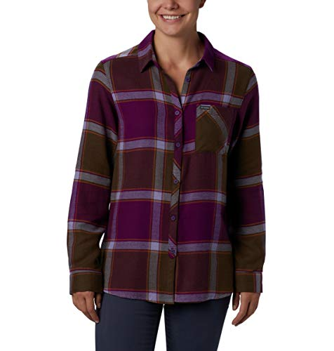 Columbia Women's Simply Put II Flannel Shirt, Wild iris Windowpane, Medium