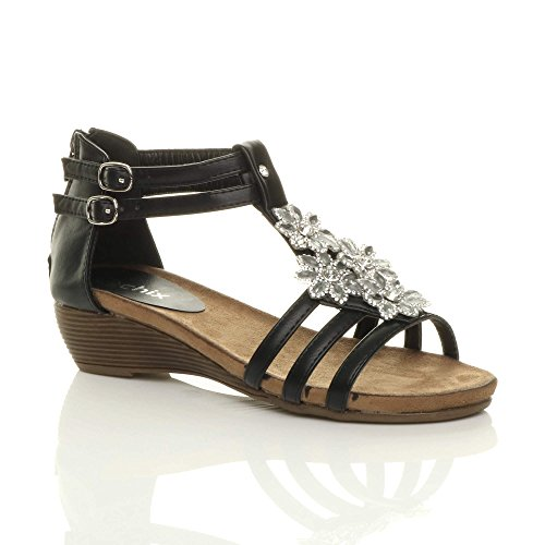 Womens Ladies mid Wedge Heel Flower Diamante t-Bar Strappy Slingback Sandals Black 3 Strap kzZLy
