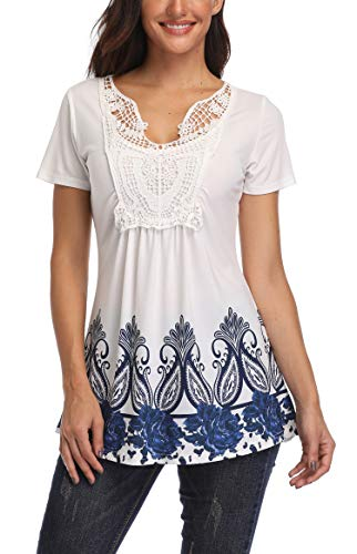 MISS MOLY Women's Summer Ruched Front Short Sleeve Lace Casual V Neck Cute Slim Peplum Plus Size Tops Shirt Tees XS-4XL (White&Blue Floral, Large (US 12-14))