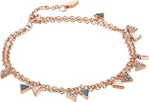 - Fossil Triangle Double Bracelet, Rose Gold Tone