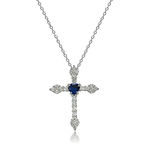 LOVVE Sterling Silver Created Blue Sapphire & White Topaz Heart Orthodox Cross Necklace (Sapphire Cross)