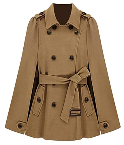 (Esast Women's Wool Blend Double Breasted Pea Coat with Belt Poncho Overcoat Camel S)