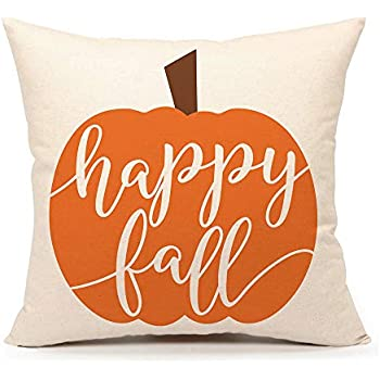 4TH Emotion Happy Fall Pumpkin Halloween Throw Pillow Cover Farmhouse Autumn Cushion Case for Sofa Couch 18x18 Inches Cotton Linen
