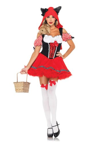 [Leg Avenue Women's Red Riding Wolf Gingham Trimmed Peasant Dress with Wolf Hood, Red, X-Small] (Gingham Womens Costumes)