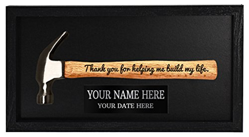 Personalized Father Day Gift for Dad or Grandpa Thank You for Helping Me Build My Life Custom Engraved Plaque Wall Art Engraved Hammer in Frame Wooden Display Box