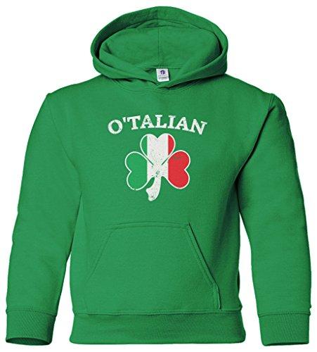 - Threadrock Kids O'Talian Italian Irish Shamrock Youth Hoodie Sweatshirt M Kelly Green