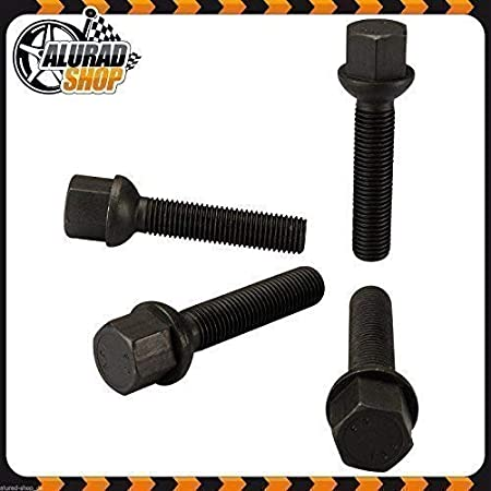 Haskyy 10 Wheel Screw Bolts Black Spherical R13 Ball M14x1 5 in Different Shaft Lengths to Choose 30mm Black