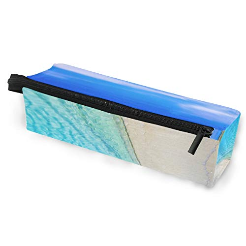 - Beach Seawater Blue Sky White Clouds Tree Pencil Case Large Capacity Sunglasses Pen Bag Makeup with Compartments