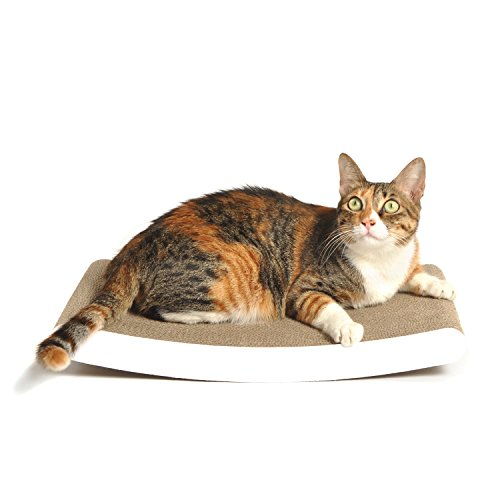 4claws curve scratching pad white basics collection for Curved cat scratcher
