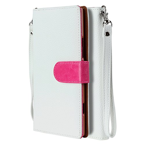 SOJITEK Nokia Lumia 1520 Premium TwoTone Series White Color Leather Wallet Case with Stand/Removable Strap, Card & Money Pockets, ID Window Slots Pouches/Smart Magnetic Reversible Flap
