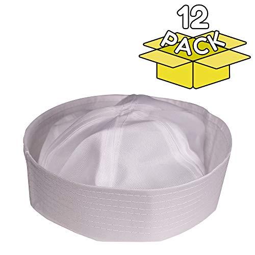 Adult Size White Sailor Cap Hat - 12 Pack -
