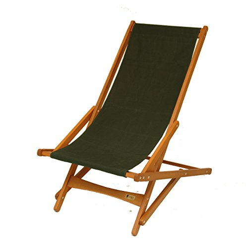 "BYER OF MAINE, Pangean Glider Chair, Easy to Fold and Carry, Hardwood, Sling Chair, Wood Beach Chair, Perfect for Camping, Matching Furniture in the Pangean Line, 38""D X 25""W X 39""H, Single, Green"