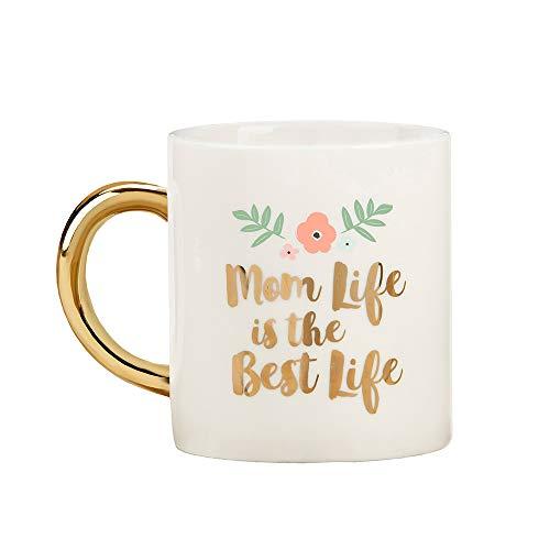 Kate Aspen 23191GD Mom Life 16 oz Foil Handle Mug, white, gold, pink, green