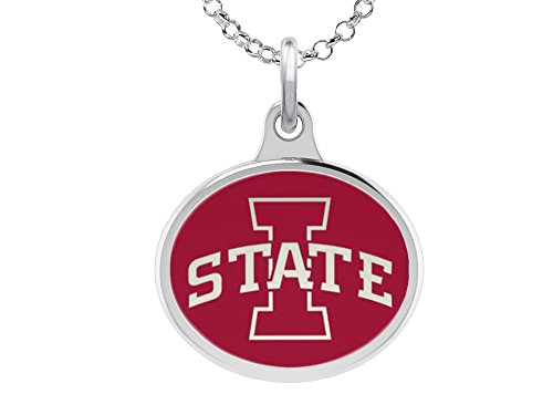 Iowa State Cyclones Charm Pendant. Solid Sterling Silver with -