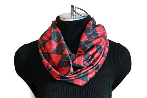 Harley Quinn Infinity Scarf - Batman infinity scarf - Harley Quinn- women's fashion - Gifts for Her - Scarves - Summer Scarf - Argyle Scarf