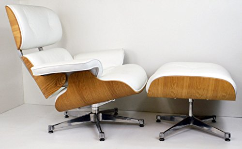 Mid Century Modern Classic Ash Plywood Lounge Chair & Ottoman With White Premium High Grade PU Leather Eames Style Replica (Modern Patio Lounge Chair)