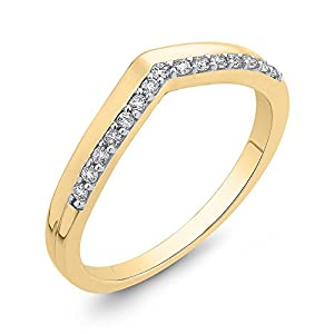 Diamond Fashion Ring in 10K Yellow Gold (1/6 cttw, Colour GH, Clarity I2-I3) (Size-4.5)
