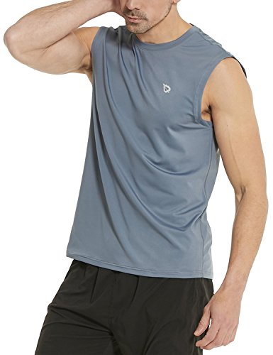 - Baleaf Men's Performance Quick-Dry Muscle Sleeveless Shirt Tank Top Gray Size XXXL