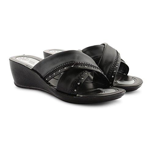 Toe Shoes Wedge Ladies Diamante Sandals Open New Lightweight Studded Black Heel Womens AnEWTqcqg