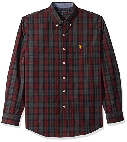 U.S. Polo Assn. Men's Classic Fit Long Sleeve Plaid Sport Shirt, Autumn Wine, S