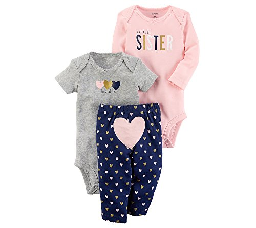 Carter's Baby Girls' 3-Piece Sister Heart Little Character Set 6 (Character Outfit)
