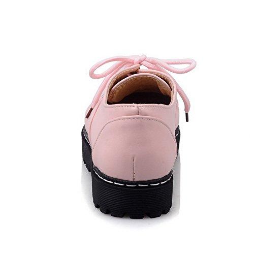 Chiusa Tacco Rosa Assortito Colore Basso Tonda Allacciare Ballerine Punta Donna Luccichio Voguezone009 BqzgPg