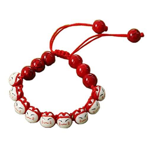 Rope Bracelet Fancy (FANCY PUMPKIN Mini Lucky Cat Bracelet Small Fortune Cat Maneki Neko Cat Feng Shui Small Gift with Red Rope)