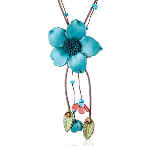 Coostuff Handmade Genuine Leather Flower Pendant Necklaces Plant Jewelry Long Necklace Women for Women Gift Colar Choker (Blue) ()