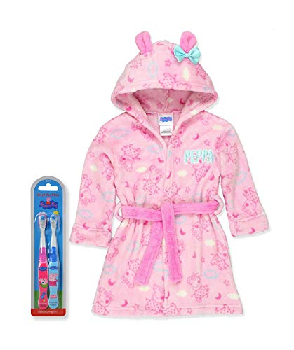 Peppa Pig Little Girls Plush Bathrobe Robe Pajamas, Toddler Sizes 2T-4T, Hooded with Toothbrush, Size 4 Years -