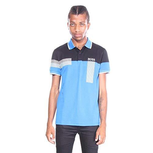 Boss Green Golf - BOSS Green Men's Paddy Pro Short Sleeve Polo Shirt, Bright Blue, Large