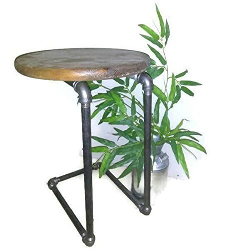 Industrial Pipe Side Table   Round Wooden Table Top   Steampunk Furniture