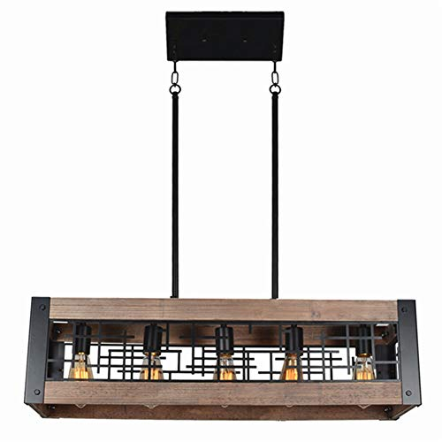 Baiwaiz Industrial Farmhouse Dining Light Fixture, Metal and Wood Kitchen Island Lighting Rustic Rectangle Chandelier 5 Lights Edison E26 081