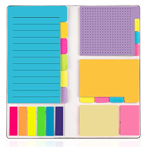 Sticky Jewelry - Colored Divider Sticky Notes Bundle Set by LE PAPILLION (402pcs), Prioritize with Color Coding - 60 Ruled Lined (3.8x5.9), 48 Dotted (3x3.8), 48 Blank(2.6x3.8), 48 Orange & Pink,150 Index Tabs - Black