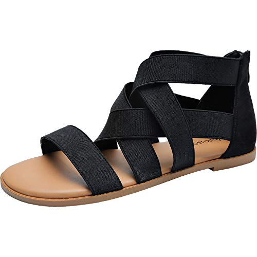 - Women's Wide Width Flat Sandals - Open Toe One Band Ankle Strap Flexible Buckle Gladiator Casual Summer Shoes.(181162 BlackMF 7.5)