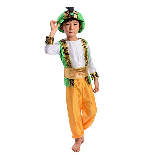 Children's Novelties Arabian Prince Costume Aladdin Fairy Tale Fancy Dress (S (4-6)) Green