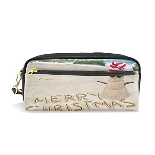 Pencil Case Happy Christmas Snowman with Pile of Sand Big Stationery Holder Cosmetic Bag with Zip Art Colored Pen Pouch for Kids Girls Boy (1 Pack)