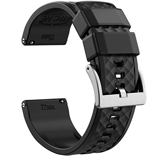 22mm Silicone Watch Bands Compatible with Samsung Gear S3 Frontier Watch Quick Release Rubber Watch Bands for Men ()