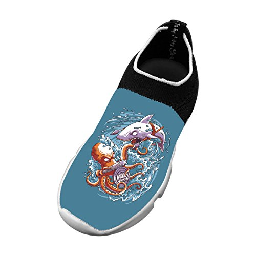 New Fashion Flywire Knitting Shoes 3D Make Custom With Octopus Vs Shark For Unisex Child