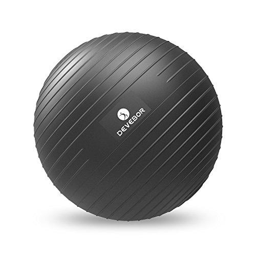 DEVEBOR Professional Grade Exercise Ball(2nd Generation),Black Grinding and polishing Process,Slip Resistant,Yoga Balance Training ,55cm, 65cm, 75cm, Size Fitness Balls (Office & Home)