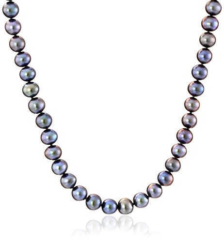 Aa+ Natural Pearl Necklace - 14K White Gold 6mm-7mm Black Freshwater Cultured AA Quality Pearl Strand Necklace, 20