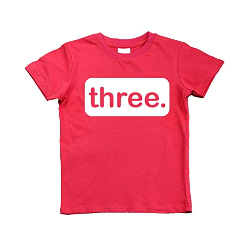 3rd Birthday Shirt boy Third Outfit 3 Year Old Toddler Gift Baby Tshirt Party Shirts (Red, 4y) -