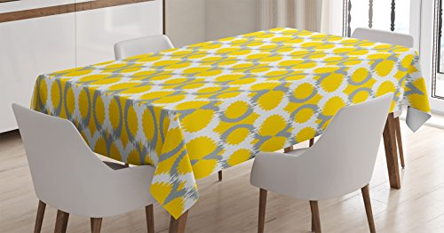 Ambesonne Ikat Decor Tablecloth, Oval and Double Mesh Ikat Motifs Modern Retro Camouflage Style Decorative Lines Home, Rectangular Table Cover for Dining Room Kitchen, 60x90 Inches, Grey Yellow White