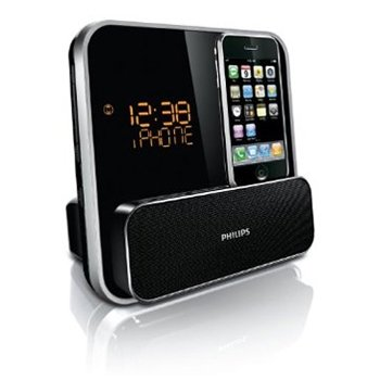 - Philips DC315/37 Speaker System for iPod/iPhone with LED Clock Radio (Black)